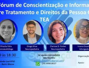 1° Fórum de conscientização e informação sobre tratamento da pessoa com TEA